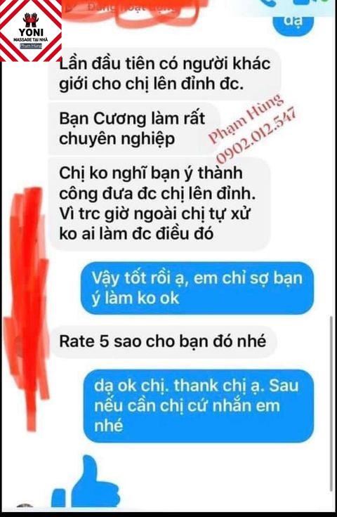 Khách hàng hài lòng với tay nghề của nhân viên tại Massage Yoni Phạm Hùng